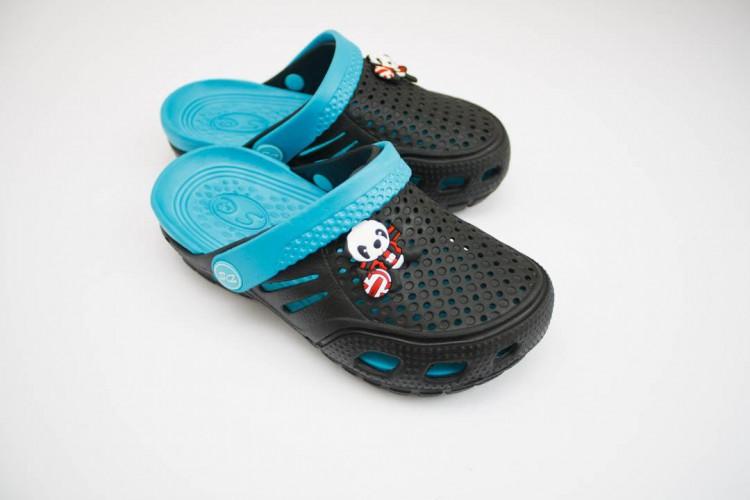 Детские сандалии Crocs дети черные-бирюза