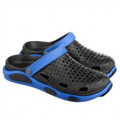 Мужские шлепанцы сабо черно-синие СМ-120