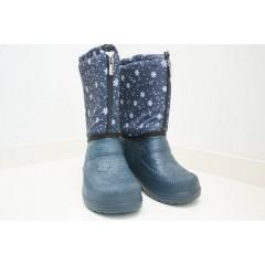 Женские зимние дутики БЖ06 замок снежинка синие
